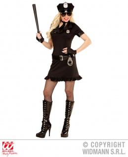 5 tlg.Polizei, Sexy Polizistin Cop Kostüm, schwarz Damen Karneval - Vorschau 1