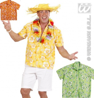 Hawaii Hemd, Kurzarm, Hibiskus Sommer Mottoparty Herren Gr. M/L