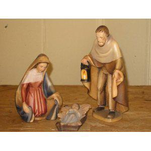 Holzgeschnitzte Heilige Familie, 15 cm hoch
