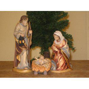 Holzgeschnitzte Heilige Familie, 18 cm hoch