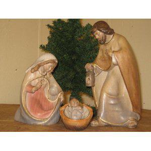 Holzgeschnitzte Heilige Familie, 23 cm hoch