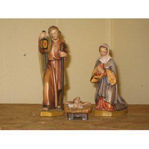 Holzgeschnitzte Heilige Familie, 16 cm hoch