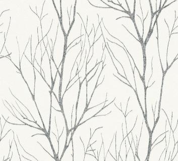 Natur Tapete Profhome 372604-GU Vliestapete leicht strukturiert mit floralen Ornamenten matt grau weiß 5, 33 m2