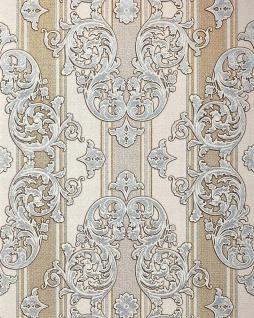 Barock-Tapete EDEM 580-30 Hochwertige geprägte Tapete in Textiloptik und Metallic Effekt hell-elfenbein perl-gold silber 5, 33 m2