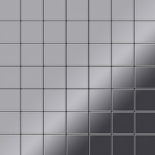 Mosaik Fliese massiv Metall Edelstahl hochglänzend in grau 1, 6mm stark ALLOY Attica-S-S-M 0, 85 m2