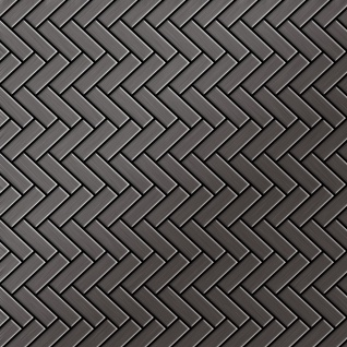 Mosaik Fliese massiv Metall Titan gebürstet in dunkelgrau 1, 6mm stark ALLOY Herringbone-Ti-SB 0, 85 m2
