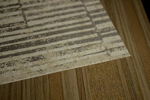 Streifen Tapete Atlas 24C-5056-4 Vliestapete glatt mit grafischem Muster und Metallic Effekt beige braun elfenbein silber 7, 035 m2 - Vorschau 2