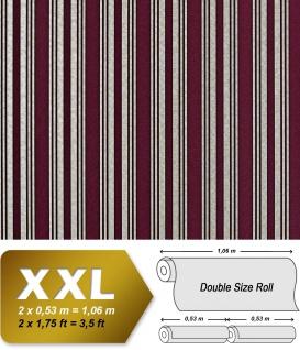 Streifen Tapete XXL Luxus Vliestapete EDEM 999-35 Hochwertiger Metallic Effekt aubergine bordeaux rot silber metallic 10, 65 m2