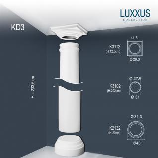 Vollsäule Komplett Set Orac Decor Luxxus KD3 Stuck Säule weiß antike Rund form klassisch leicht stabil | 2, 34 Meter