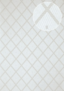 Grafik Tapete Atlas PRI-560-1 Vliestapete glatt mit Rauten Muster schimmernd grau weiß-aluminium seiden-grau silber-grau 5, 33 m2