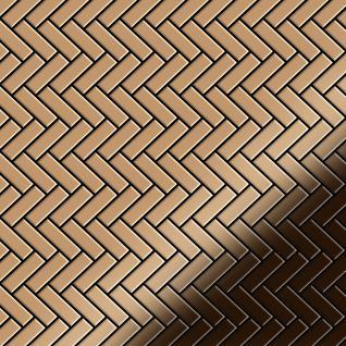 Mosaik Fliese massiv Metall Titan hochglänzend in kupfer 1, 6mm stark ALLOY Herringbone-Ti-AM 0, 94 m2