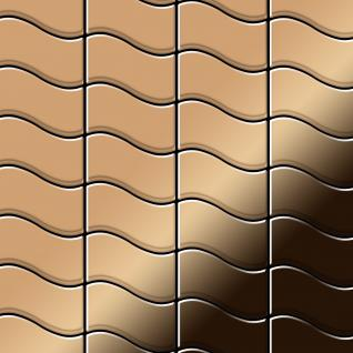 Mosaik Fliese massiv Metall Titan hochglänzend in Kupfer 1, 6mm stark ALLOY Flux-Ti-AM Designed by Karim Rashid 0, 86 m2