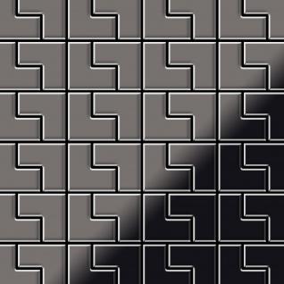 Mosaik Fliese massiv Metall Titan hochglänzend in dunkelgrau 1, 6mm stark ALLOY Kink-Ti-SM Designed by Karim Rashid 0, 93 m2
