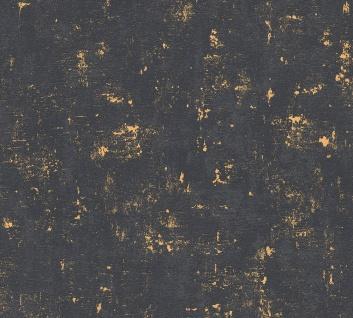 Stein Kacheln Tapete Profhome 230782-GU Vliestapete leicht strukturiert in Steinoptik matt schwarz gold 5, 33 m2