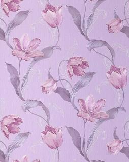 Blumen Tapete EDEM 828-29 deluxe tulpen Blumentapete brilliante farben pastell-blau platin-grau violett rosa 70 cm