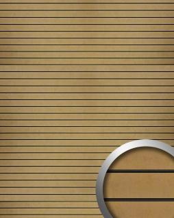 Wandpaneel geprägte Querstreifen selbstklebend WallFace 18584 RIGATO Vintage Metall-Optik gold bronze schwarz 2, 60 qm