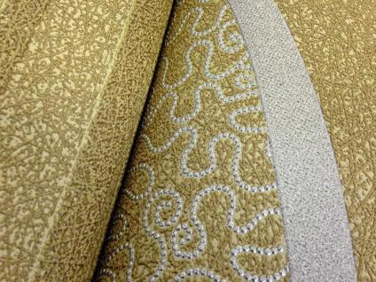 Streifen Tapete EDEM 1015-15 Designer Uni-Tapete dezent gestreiftes Struktur hochwaschbare Oberfläche oliv-grün gold-grün - Vorschau 4