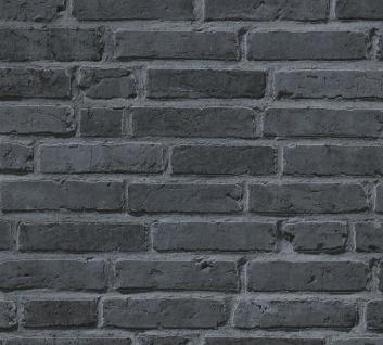 Stein Kacheln Tapete Profhome 942833-GU Vliestapete glatt in Steinoptik matt schwarz grau 5, 33 m2 - Vorschau 1