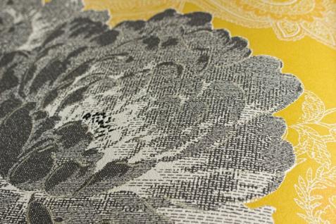Blumen Tapete Atlas TEM-5109-7 Vliestapete strukturiert mit Paisley Muster schimmernd gelb dunkel-grau grau-weiß platin 7, 035 m2 - Vorschau 2
