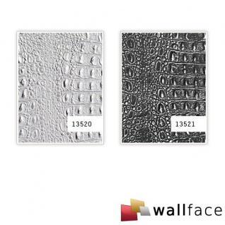 Wandpaneel 3D WallFace 13520 CROCO Design Platte Struktur Blickfang Dekor selbstklebende Tapete silber grau 2, 60 qm - Vorschau 4