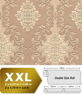 3D Barock Tapete EDEM 9123-24 heißgeprägte Vliestapete geprägt mit Ornamenten schimmernd braun beige hell-elfenbein 10, 65 m2