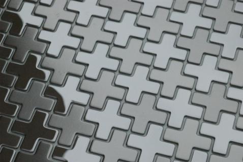 Mosaik Fliese massiv Metall Edelstahl marine gebürstet in grau 1, 6mm stark ALLOY Swiss Cross-S-S-MB 0, 88 m2 - Vorschau 4