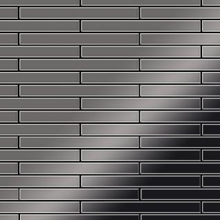 Mosaik Fliese massiv Metall Titan hochglänzend in dunkelgrau 1, 6mm stark ALLOY Avenue-Ti-SM 0, 74 m2