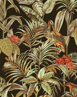 Vogel Tapete Profhome DE120015-DI heißgeprägte Vliestapete geprägt mit Vogel-Muster glänzend schwarz grün orange 5, 33 m2