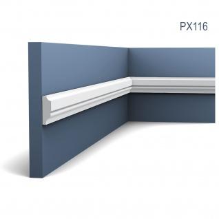 Profilleiste Friesleiste Stuck PX116 AXXENT Wandleiste Zierleiste profil Wand Rahmen Dekor Element | 2 Meter