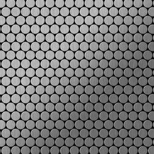 Mosaik Fliese massiv Metall Edelstahl gebürstet in grau 1, 6mm stark ALLOY Penny-S-S-B 0, 92 m2