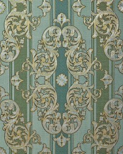 Barock-Tapete EDEM 580-35 Hochwertige geprägte Tapete in Textiloptik und Metallic Effekt kiefern-grün perl-gold silber 5, 33 m2