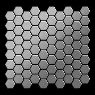 Mosaik Fliese massiv Metall Edelstahl gebürstet in grau 1, 6mm stark ALLOY Honey-S-S-B 0, 92 m2 - Vorschau 3