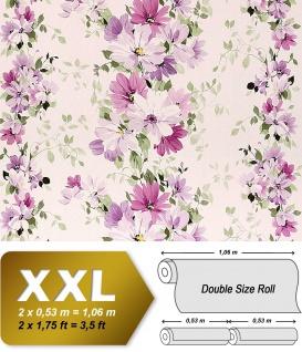 Blumen Tapete Vliestapete Landhaus Tapete EDEM 907-05 XXL Floral hochwertige Textiloptik Weiß violett rosa grün 10, 65 qm