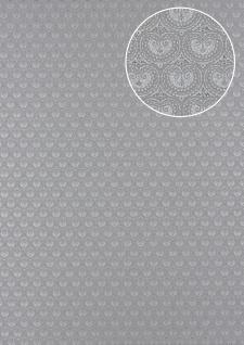 Barock Tapete Atlas PRI-5048-3 Vliestapete glatt mit Ornamenten schimmernd grau grau-aluminium silber quarz-grau 5, 33 m2