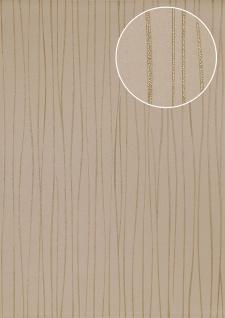 Streifen Tapete Atlas ICO-5077-3 Vliestapete glatt Design schimmernd braun gold 7, 035 m2