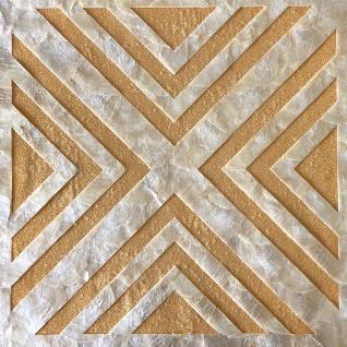 Muschel Wandverkleidung Wallface LU01-5 CAPIZ Dekorfliesen Set handgearbeitet mit echten Muscheln und Glasperlen Perlmutt Optik creme-weiss gold braun 1 m2