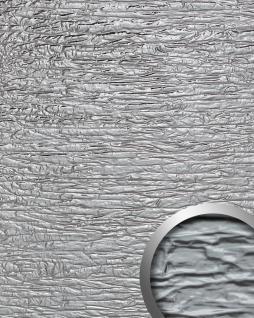 Wandverkleidung Used look WallFace 19346 CRASHED MIRROR Dekorpaneel geprägt in Metall Optik glänzend selbstklebend silber 2, 6 m2