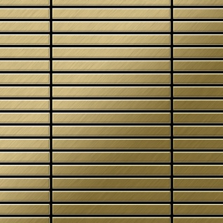Mosaik Fliese massiv Metall Titan gebürstet in gold 1, 6mm stark ALLOY Linear-Ti-GB 0, 94 m2