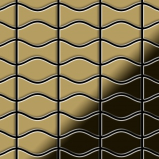 Mosaik Fliese massiv Metall Titan hochglänzend in gold 1, 6mm stark ALLOY Kismet & Karma-Ti-GM Designed by Karim Rashid 0, 86 m2