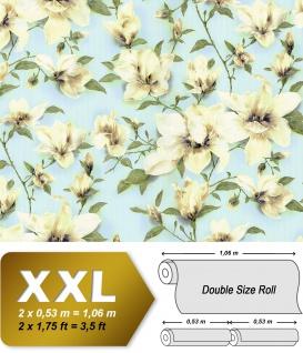 Blumen Tapete EDEM 9080-29 Vliestapete geprägt mit floralen Ornamenten schimmernd blau grün weiß 10, 65 m2