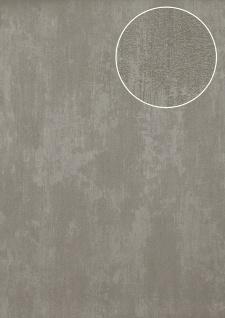 Uni Tapete Atlas TEM-5112-5 Vliestapete strukturiert in Spachteloptik und Metallic Effekt grau perl-hell-grau silber staub-grau 7, 035 m2