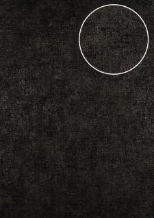 Uni Tapete ATLAS CLA-598-8 Vliestapete glatt im Used Look schimmernd schwarz anthrazit schwarz-braun 5, 33 m2