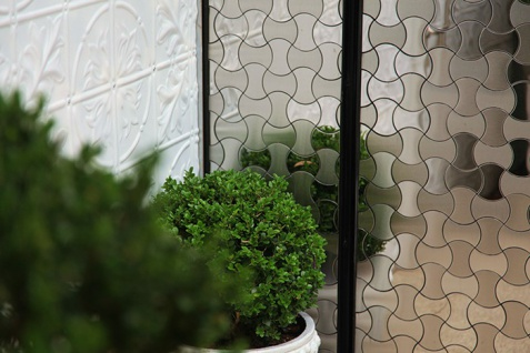 Mosaik Fliese massiv Metall Edelstahl gebürstet in grau 1, 6mm stark ALLOY Infinit-S-S-B Designed by Karim Rashid 0, 91 m2 - Vorschau 4