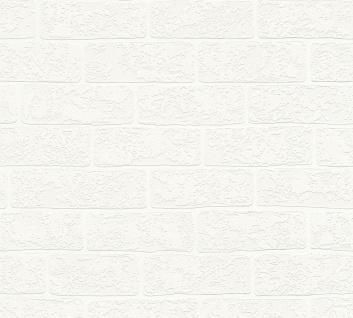 Stein Kacheln Tapete Profhome 359811-GU Vliestapete leicht strukturiert in Steinoptik matt weiß creme 5, 33 m2