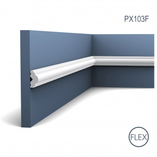 Profilleiste Friesleiste Stuck PX103F AXXENT flexible Wandleiste Zierleiste Profil Wand Rahmen 2 Meter