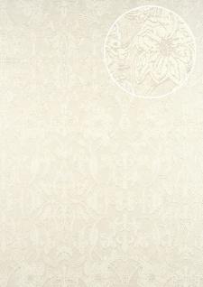 Barock Tapete ATLAS CLA-600-2 Vliestapete geprägt mit Ornamenten glänzend silber perl-weiß 5, 33 m2