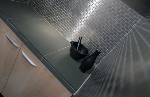 Mosaik Fliese massiv Metall Edelstahl marine gebürstet in grau 1, 6mm stark ALLOY House-S-S-MB 0, 98 m2 - Vorschau 4