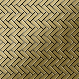 Mosaik Fliese massiv Metall Titan gebürstet in gold 1, 6mm stark ALLOY Herringbone-Ti-GB 0, 85 m2