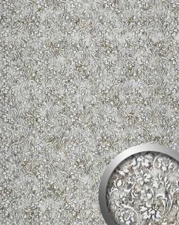 Wandplatte selbstklebend WallFace 17267 FLORAL VINTAGE Wandpaneel Luxus Leder Dekor Barock Blumen silber grau | 2, 60 qm
