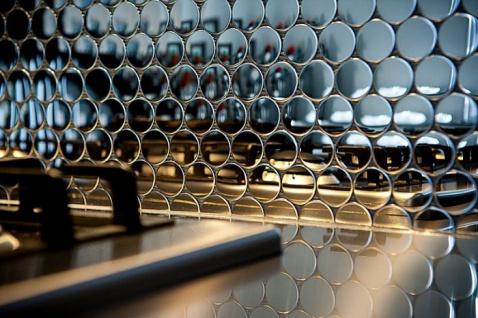 Mosaik Fliese massiv Metall Edelstahl hochglänzend in grau 1, 6mm stark ALLOY Dollar-S-S-M 0, 88 m2 - Vorschau 5